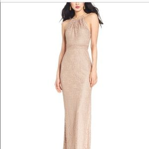 Adrianna Papell Illusion Lace Halter Dress